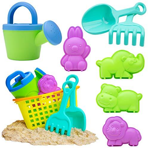 USA Toyz Beach Toys for Toddlers - 8pk Sandbox Toys for Kids w/ Basket, Animal Sand Molds, Beach Shovel, Sand Tools