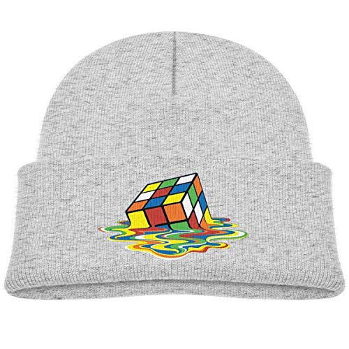 Infant Toddler Baby Kids Knitted Beanies Hat Colorful Cube Winter Hat Knitted Skull Cap for Boys Girls Black