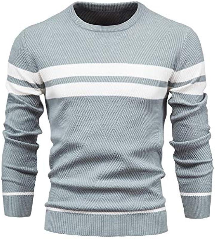 Autumn Pullover Męskiepullover O-Neck Patchwork Langarm Warme Schlanke Pullover Męskie Casual Fashion Sweater: Küche & Haushalt