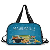 iPrint Travel handbag,Mathematics Classroom Decor,Education Science Concept School College Supplies Set Books Cap Decorative,Multicolor ,Personalized