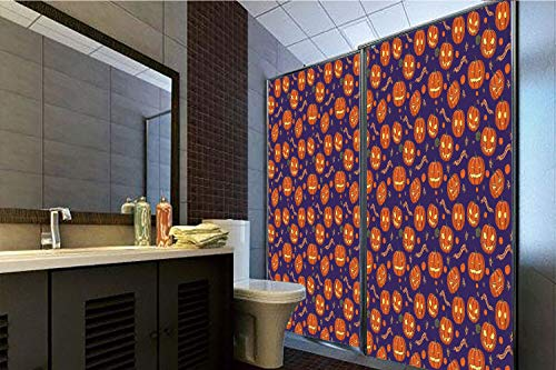Horrisophie dodo 3D Privacy Window Film No Glue,Halloween,Pumpkins Pattern Different Face Expressions Happy Angry Scary Puzzled,Orange Indigo Yellow,47.24