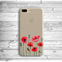 iPhone Case Cover Custom Phone Case Red Poppies Clear TPU Soft Transparent Poppies Floral iPhone Case for iPhone 7 plus/ iPhone 8 plus 5.5 inches