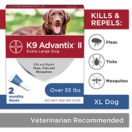 Flea and tick prevention for dogs, dog flea and tick treatment, 2 doses for dogs over 55 lbs, K9 Advantix II (Flea Tick And Mosquito Control For Dogs)