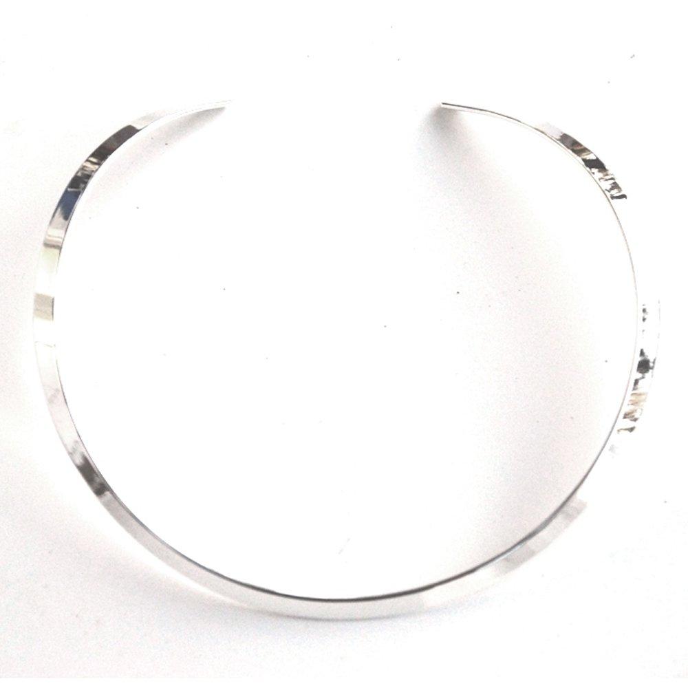 SILVER Tone Adjustable 1/4'' Wide Flat Collar Choker Necklace for Slides or Pendants