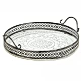 Whole House Worlds The Stockbridge Round Tray, Stenciled Floral Roundels, Rustic White with Gray Accents, Detailed Vintage Style Metal Work Rim, 14 1/4 Inch Diameter Review