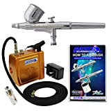 Master Performance G22 Airbrush Kit with Master C16-G Gold Portable Mini Compressor