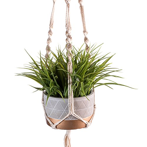 Plant Hangers Pot (Macrame Plant Hangers Hanging Planters - Handmade 100 Percent Cotton Rope - 40 Inches Long 4 Legs - for Outdoor Indoor - for Pots Up To 10 Inches Diameter - Plant and Pot Not Included)