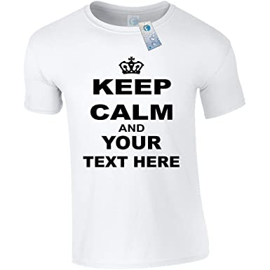 fa73518db PERSONALISED KEEP CALM UNISEX T SHIRTS (White) New Adult Men Ladies Premium  Soft Style Custom keepcalm tshirt - Your Text Top - design Carry On Gift  Present ...