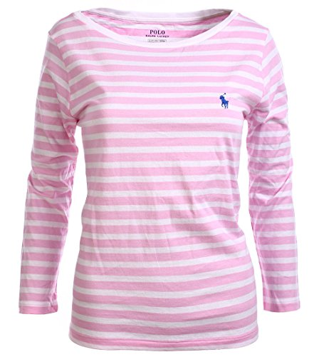 Polo Ralph Lauren Womens 3/4 Sleeve Boat Neck T-Shirt (Large, Pink Stripes)