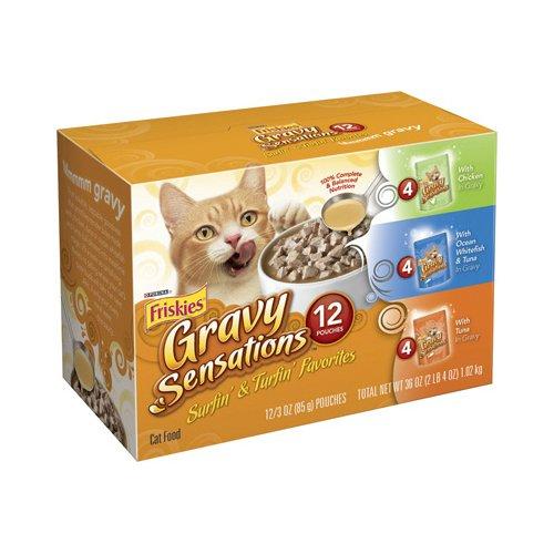 Purina Friskies Gravy Sensations Surfin' & Turfin' Favorites Cat Food Variety Pack, 12 Pouches - 3 oz.