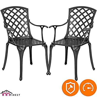 "2-Piece Patio Bistro Dining Chair Set - Cast Aluminum Lattice Weave Design - Ergonomic Rust Resistant - for Outdoor Furniture Patio Deck Garden - Optional Add-on Table for 5 or 7 Piece Set (Black) - 🌹MODERN LATTICE WEAVE DESIGN: Lattice weave design adorns each chairs for a truly stand-out piece. The detailed pattern makes your garden more fashionable, the durable black finish is the perfect accent for any patio. DIMENSIONS: TABLE: 23""(L) x 24""(W) x 37""(H); 14 Lbs weight; 200lbs capacity. 🌹STYLISH, LIGHTWEIGHT, EASY TO MOVE: Stylish elegant bistro chair set add a luxurious touch to any dinner, is great for breakfasts in the morning, outdoor brunches or an afternoon tea; easy to move in your front porch or patio, balcony, terrace, apartment, garden,.any outdoor area in your home. 🌹BUILT-TO-LAST CAST ALUMINUM: Sturdy and solid cast aluminium; resistant to rust, weather, fade, chip, crack; with durable black finish that's designed to last. The bistro chair set has ergonomic cupped seats for comfortable seating, which can be used all year round and provides a maintenance free outdoor seating experience. - patio-furniture, patio-chairs, patio - 51KIZ8UA5CL. SS400  -"