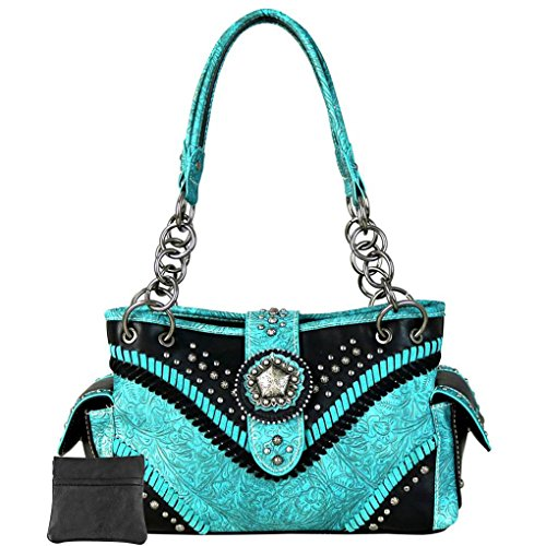 Donna Borsa Tooling West A Montana Spalla Turquoise Floral L ZwIzWq7R5 f23970fdaf4