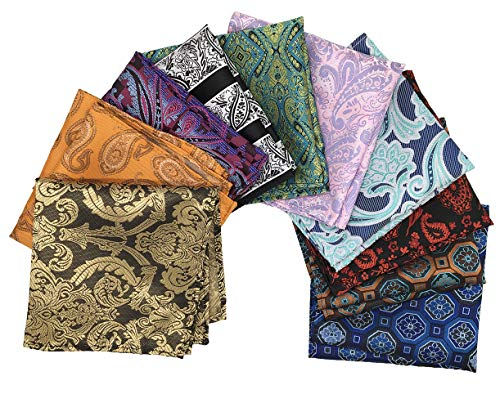 MENDENG New Mens 10 Pack Paisley Striped Floral Pocket Square Party Handkerchief