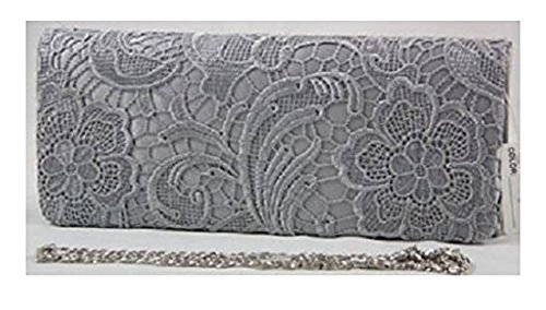 WEDDING FLORAL LACE PROM HANDBAG Silver CLUTCH SATIN EVENING SATIN LACE wvqtxgFnX
