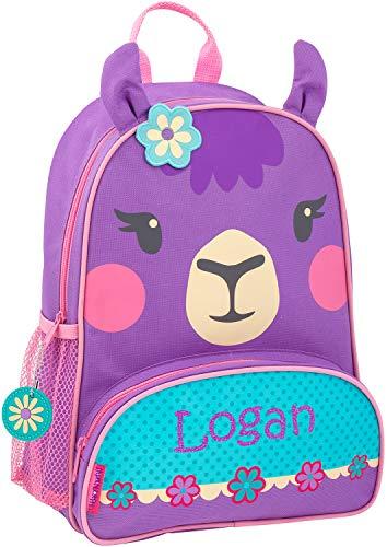 Monogrammed Me Personalized Sidekick Backpack, Purple Llama, with Custom Glitter Vinyl Name