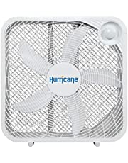 Hurricane Box Fan - 20 Inch, Classic Series, Floor Fan with 3 Energy Efficient Speed Settings, Compact Design, Lightweight - ETL Listed, White