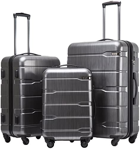 Coolife Luggage Expandable 3 Piece Sets PC ABS Spinner Suitcase Built-In TSA lock 20 inch 24 inch 28 inch