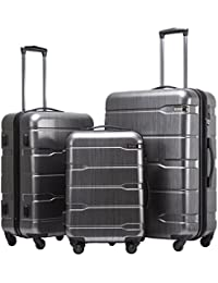 Luggage Expandable 3 Piece Sets PC+ABS Spinner Suitcase 20 inch 24 inch 28 inch (Charcoal new)