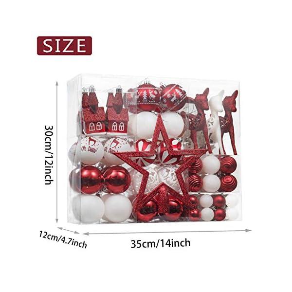 Victor's Workshop Addobbi Natalizi 100 Pezzi di Palline di Natale, Oh Cervo Rosso e Bianco Infrangibile Ornamenti di Palla di Natale Decorazione per la Decorazione Dell'Albero di Natale 2 spesavip