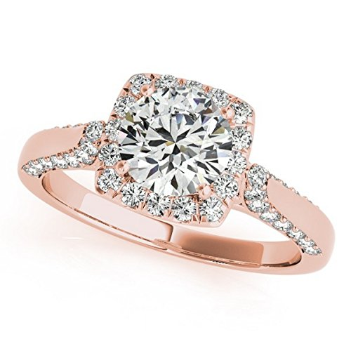 Square Shaped Halo Diamond Accented Engagement Ring with Prong Set Diamonds in 14k Rose Gold 1.00ct
