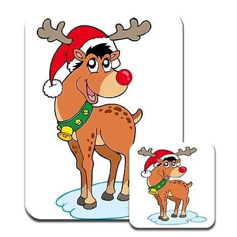 Rudolph La Renna Di Babbo Natale.Renna Rudolph Dal Naso Rosso Cappello Di Babbo Natale Mousematt