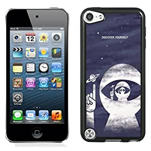 Fashion Custom Designed Cover Case For iPod Touch 5 Phone Case With Discover Yourself Astrounaut Helmet_Black Phone Case