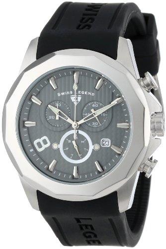 Swiss Legend Men's 10042-014 Monte Carlo Chronograph Grey Textured Dial Black Silicone Watch