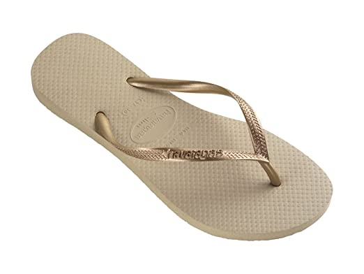 fd3cb1d9f Havaianas Slim Thong Flip Flops Sand Grey Light Golden - UK 8 - BR ...