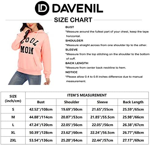 Davenil Women Graphic Hoodies Long Sleeve Hooded Fleece Sweatshirt Casual Pullover Top with Pocket
