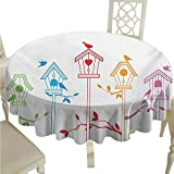 Hinxinv Round Tablecloth Plaid Birds,Sweet Colorful Bird Houses Nest with Flying Birds on