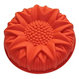 Allforhome 9 inches Round Sunflower Silicone Birthday Cake Baking Pans Handmade Bread Loaf Pizza Toast Tray Silicone Cake Baking Molds Cake DIY Moulds Mold Non-stick Silicone Bakeware 72 Food Grade Silicone (FDA Standard); Flexible and Reusable;For making flower shape cake,bread, Craft Art; Heat Resistant Temperature -40 to +230 Centigrade (-40 to 446 F); Mold Dimension: 9.0 inches Dia , 2 inches Height;