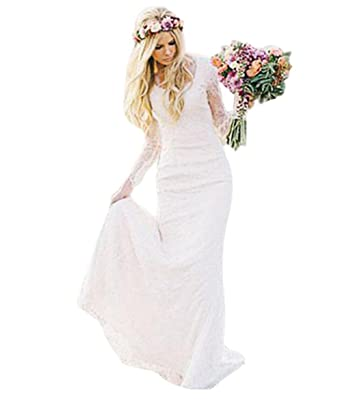 The peachess 2017 boho bridal wedding gowns bohemian long sleeves the peachess ivory beach wedding dress us2 junglespirit Images