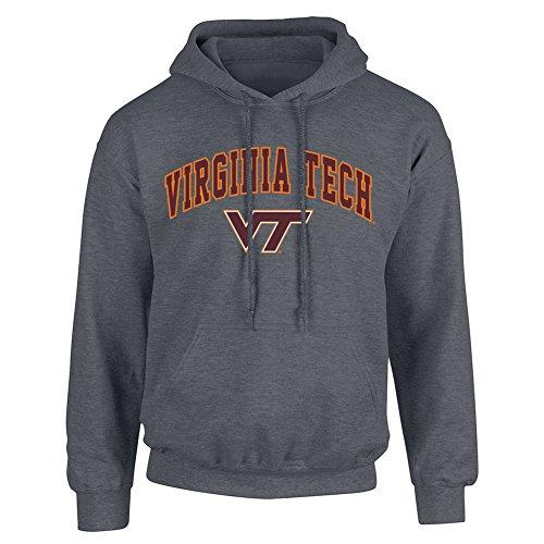 Virginia Tech Mens Hooded Sweatshirt - Elite Fan Shop NCAA Men's Virginia Tech Hokies Hoodie Sweatshirt Dark Heather Arch Virginia Tech Hokies Dark Heather Large