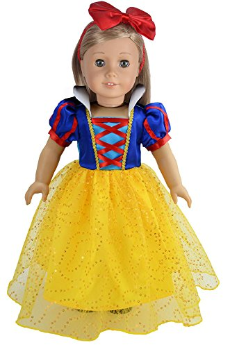 Ebuddy Princess Custome Inspired By Snow White Doll Clothes Dress Fit 18 Inch American (Snow White Inspired Outfit)