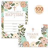 Baptism Invitations ( 100 ) & Matching Thank You Cards ( 100 ) Set with Envelopes, Large Welcome Celebration Family Church Baby Christening, Fill-in-Style Invites & Folded Thank You Notes Best Value