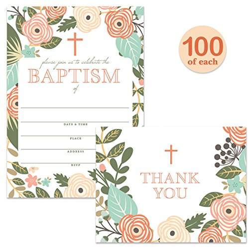 Baptism Invitations ( 100 ) & Matching Thank You Cards ( 100 ) Set with Envelopes, Large Welcome Celebration Family Church Baby Christening, Fill-in-Style Invites & Folded Thank You Notes Best Value by Digibuddha