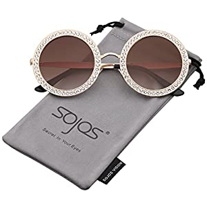 SOJOS Round Rhinestone Sunglasses for Women Metal Frame Diamond Shades SJ1095 with Gold Frame/Gradient Brown Lens with White Diamond