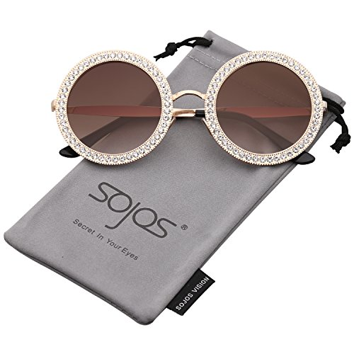 SOJOS Round Oversized Rhinestone Sunglasses for Women Diamond Shades SJ1095 with Gold Frame/Gradient Brown Lens with White Diamond