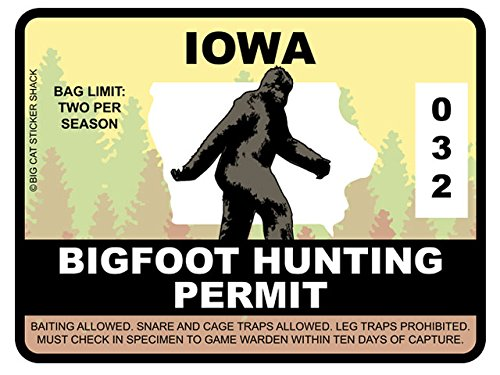 Bigfoot Hunting Permit - IOWA (Bumper Sticker)
