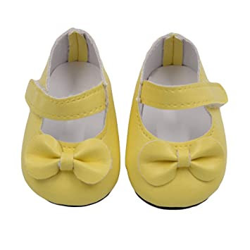 273037c2a8d59 Kasien Doll Shoes, Glitter Doll Shoes Bow Dress Shoes For American Girl  Doll 18 Inch Our Generation (Yellow)