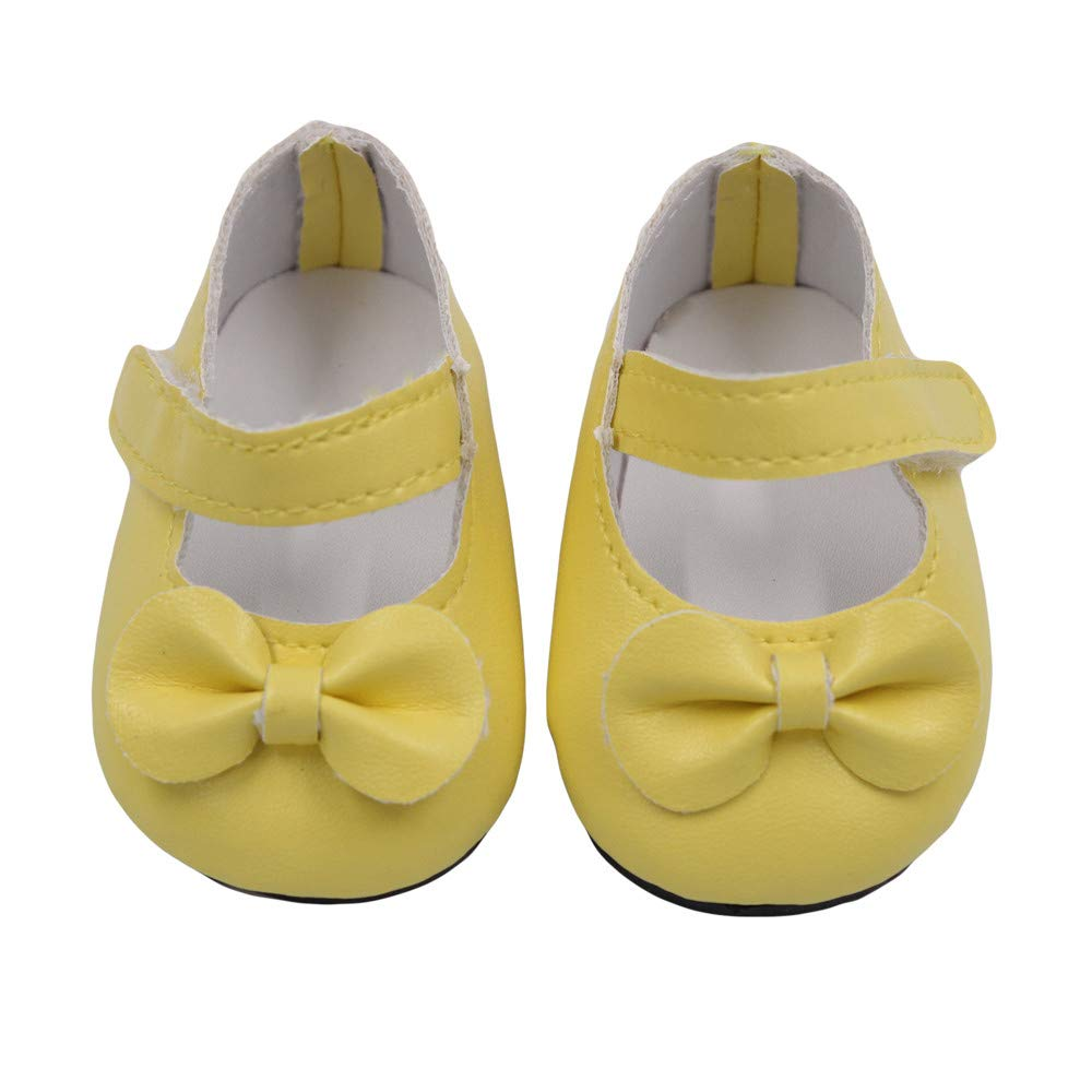 Kasien Doll Shoes, Glitter Doll Shoes Bow Dress Shoes For American Girl Doll 18 Inch Our Generation (Yellow)