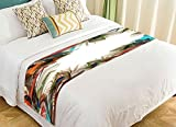PicaqiuXzzz Custom Exotic Style Bed Runner, Beautiful Peacock Feather Bed Runners And Scarves Bed Decoration 20x95 inch