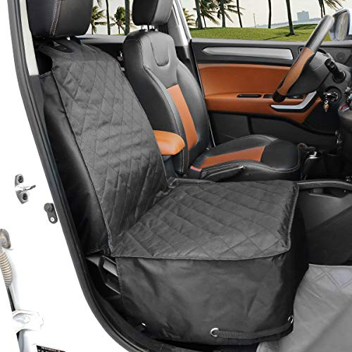 Black Alfheim Nonslip Rubber Backing Front Seat Cover with Anchor and an Adjustable Pet Dog Car Seat One Size