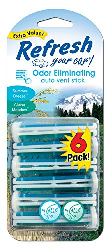Refresh Your Car Odor Eliminating Auto Vent Stick Car and Home Air Freshener, Summer Breeze / Alpine Meadow Scent, 6 Sticks