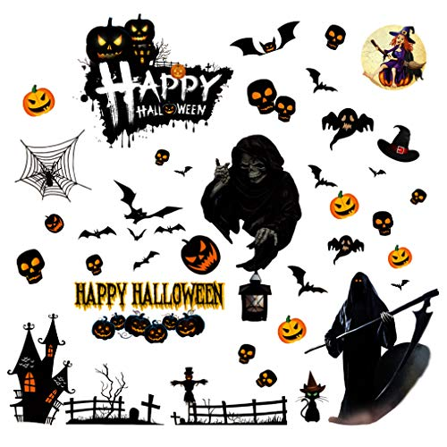 PintreeLand Halloween Window Clings for Decorations Indoor Pack of 2 Cute Halloween Decals Decor Cat Pumpkin Bat Wall Stickers Party Supplies (4 Sheet)]()