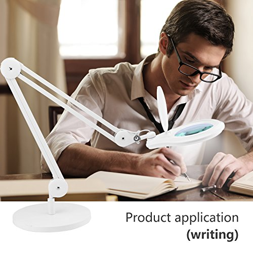 LED Magnifying Lamp, NexTrend CFL Swing-Arm 5in led Magnifier 5X Lens Super Led Light Task Lamp Magnifier Light for Reading Inspection Repairing Handcraft Crafts Needlework Hobbies with Desk-On Base by NexTrend (Image #4)