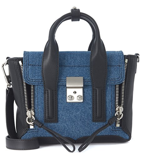 Borsa a mano 3.1 Phillip Lim Pashli mini satchel in pregiata pelle liscia nera e blue denim