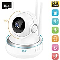 Prunend Wireless Security Camera, 720P Cloud Storage Live Steam HD Home Surveillance IP Camera WiFi Baby Monitor with Night Vision Pan/Tilt Two way Talk(Included 16GB MicroSD card)