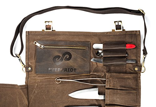 Chef Knife Roll Bag (13 Slots) | Stores 10 Knives, 3 Kitchen Utensils PLUS a Zipper | Durable Waxed Canvas Knife Carrier | Easily Carried by Shoulder Strap For Professional Chefs | Knives Not Included by EVERPRIDE (Image #4)