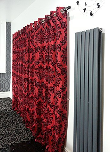 CUSHIONMANIA PAIR OF FULL FLOCK DAMASK FULLY LINED EYELET CURTAINS RED BLACK 66quot WIDE